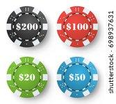 poker chips vector. set classic ... | Shutterstock .eps vector #698937631