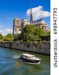 notre dame de paris cathedral...   Shutterstock . vector #698947795