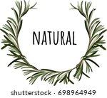 rosemary wreath frame vector... | Shutterstock .eps vector #698964949
