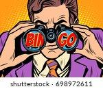 businessman looking through...   Shutterstock .eps vector #698972611