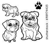 dog cartoon  and dog paw print  ... | Shutterstock .eps vector #698974435
