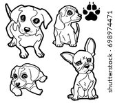 dog cartoon  and dog paw print  ... | Shutterstock .eps vector #698974471