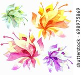 flowers watercolor illustration.... | Shutterstock . vector #698975869