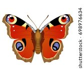 vector drawing red butterfly | Shutterstock .eps vector #698976634