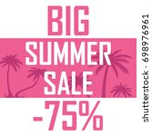 a big summer sale  palms on a... | Shutterstock .eps vector #698976961