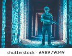 soldiers on patrol during a... | Shutterstock . vector #698979049