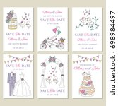 vector set of wedding save the... | Shutterstock .eps vector #698984497