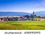 beautiful landscape of valley... | Shutterstock . vector #698990995