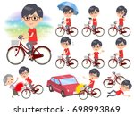 set of various poses of red... | Shutterstock .eps vector #698993869