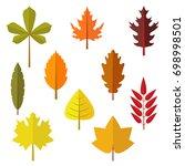 autumn leaf flat design set.... | Shutterstock .eps vector #698998501