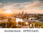 vilnius  lithuania. sunset... | Shutterstock . vector #699011641