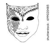 pencil sketch of venetian mask  ...
