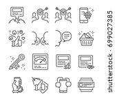 social marketing line icon set. ... | Shutterstock .eps vector #699027385