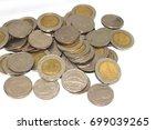 thai baht coins  five baht and...   Shutterstock . vector #699039265