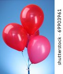 pink flying balloons  on a blue ... | Shutterstock . vector #69903961
