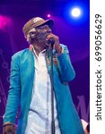 Small photo of NIS, SERBIA-AUGUST 11, 2017: Alpha Blondy and Solar System famous reggae singer and songwriter on NisVille JAZZ festival in Nis, Serbia.
