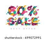 paper cut 60 percent off. 60 ... | Shutterstock .eps vector #699072991