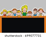 kids and board  banner  vector... | Shutterstock .eps vector #699077731