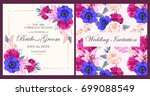 vintage wedding invitation | Shutterstock .eps vector #699088549