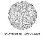 floral mandala in black and... | Shutterstock .eps vector #699092305