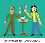 two buddies drink alcohol in... | Shutterstock .eps vector #699100549
