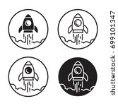 rocket launch icons black and...   Shutterstock .eps vector #699101347
