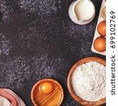 ingredients for baking    flour ... | Shutterstock . vector #699102769