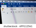 Small photo of New york, USA - August 18, 2017: Microsoft office word menu on laptop screen close-up