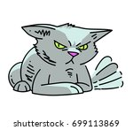 angry cat cartoon hand drawn... | Shutterstock .eps vector #699113869