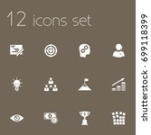 set of 12 business icons set... | Shutterstock .eps vector #699118399