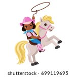 cowgirl riding a horse with...   Shutterstock .eps vector #699119695