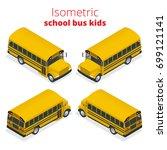 isometric yellow school bus...   Shutterstock .eps vector #699121141