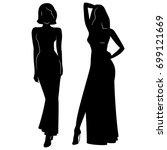 silhouette of beautiful women... | Shutterstock .eps vector #699121669