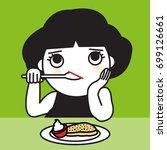 asian woman girl eating boring...
