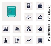 set of 12 budget icons set... | Shutterstock .eps vector #699126919