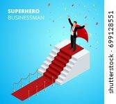 isometric super hero... | Shutterstock .eps vector #699128551