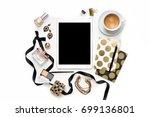 flat lay fashion feminine home...   Shutterstock . vector #699136801
