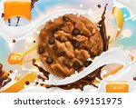 chocolate cookies. white milk... | Shutterstock .eps vector #699151975