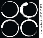 zen circle brush set. black and ... | Shutterstock .eps vector #699171124