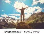 beautiful mountains landscape... | Shutterstock . vector #699174949
