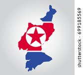 map shape flag of north korea | Shutterstock .eps vector #699185569