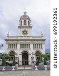 Small photo of Church of Santa Cruz Architecture Italian dome Roman Catholicism Located on the Chao Phraya River, Thonburi, Bangkok, Thailand