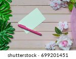 blank white note  pen and... | Shutterstock . vector #699201451