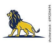 Stock vector lion mascot logo roaring vector template design 699204694