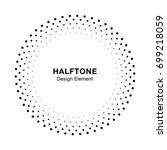 halftone circle frame dots logo ... | Shutterstock . vector #699218059