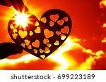 silhouette of heart shape in... | Shutterstock . vector #699223189