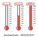Vector Set Of Goal Thermometer...