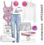 set of stylish clothes woman... | Shutterstock . vector #699236605
