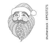 line art design of smiley santa ... | Shutterstock .eps vector #699237271