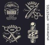 set of vintage barbershop... | Shutterstock .eps vector #699237331